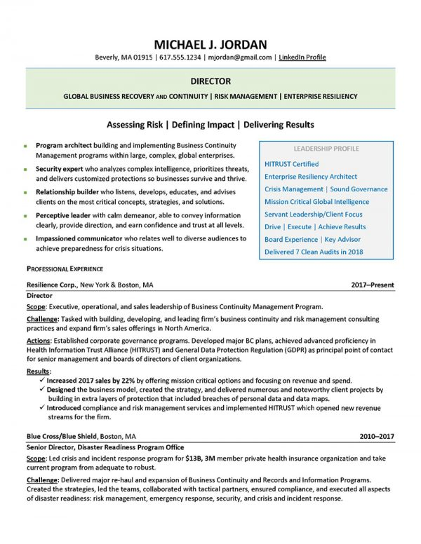 Director of Business Recovery and Continuity - After (Click to Zoom)