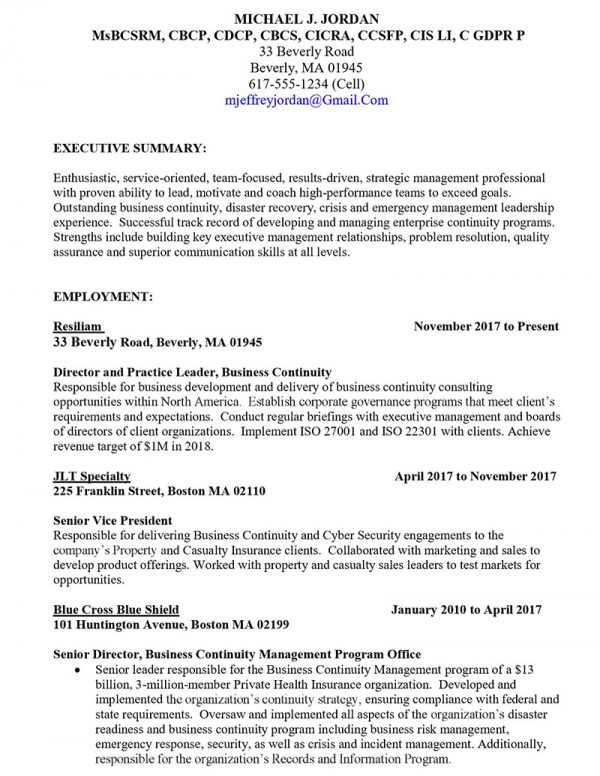 Director of Business Recovery and Continuity - Before (Click to Zoom)