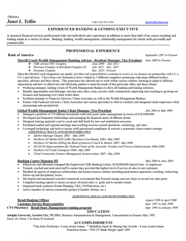 Senior Wealth Management Executive - Before (Click to Zoom)